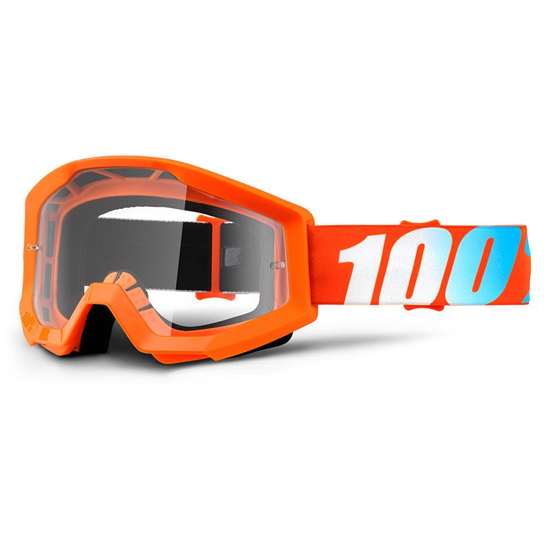 Maschera da cross 100% STRATA YOUTH - ORANGE CLEAR LENS