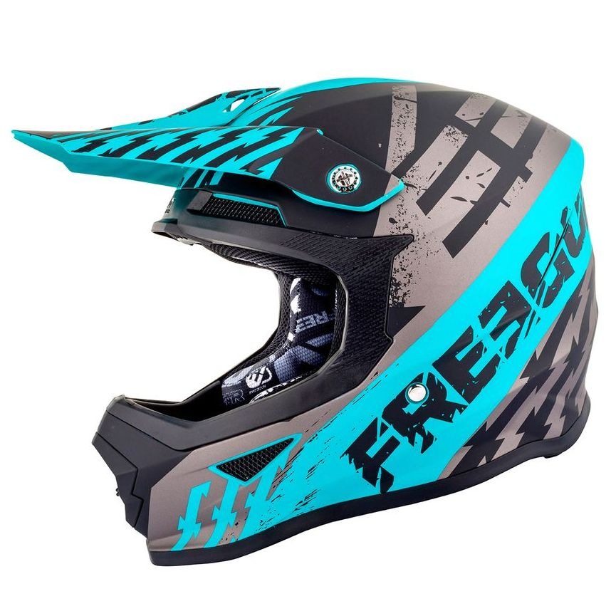 Casco da cross Shot by Freegun XP4 - OUTLAW - GREY FRESH BLUE MATT 2019