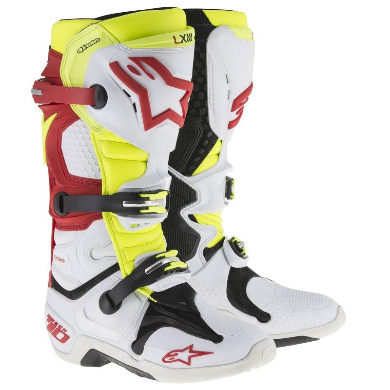 online qui prezzi di sdoganamento funzionario di vendita caldo Stivali da cross Alpinestars TECH 10 WHITE RED YELLOW FLUO 2018