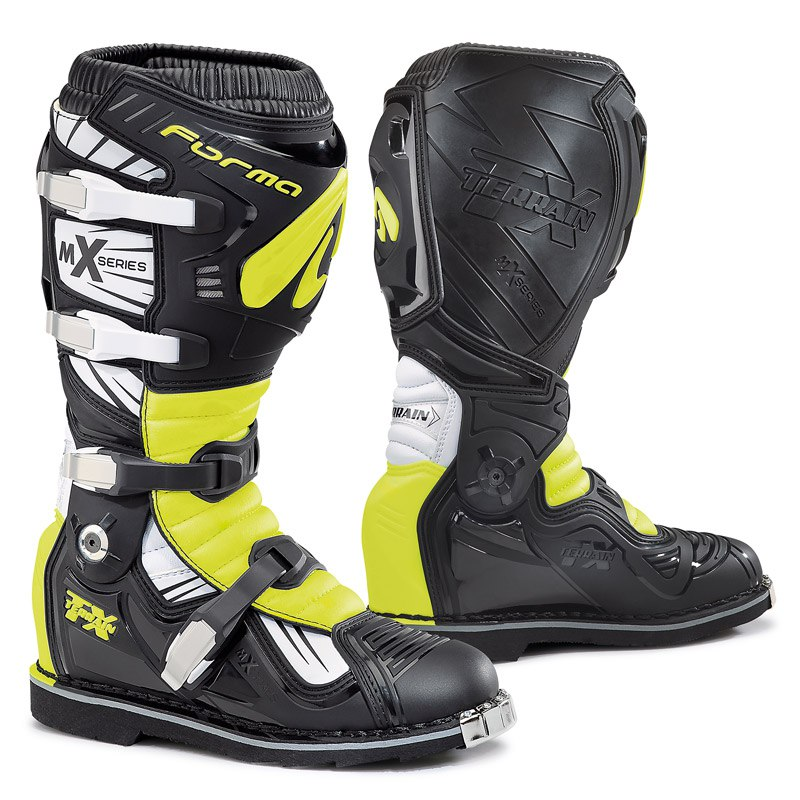 Stivali da cross Forma TERRAIN TX  BLACK WHITE YELLOW FLUO 2019