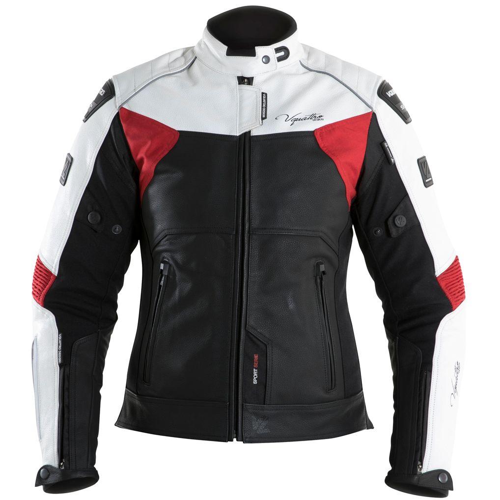 Giacca Moto In Pelle Impermeabile Vquattro SP 81 Nero Rosso