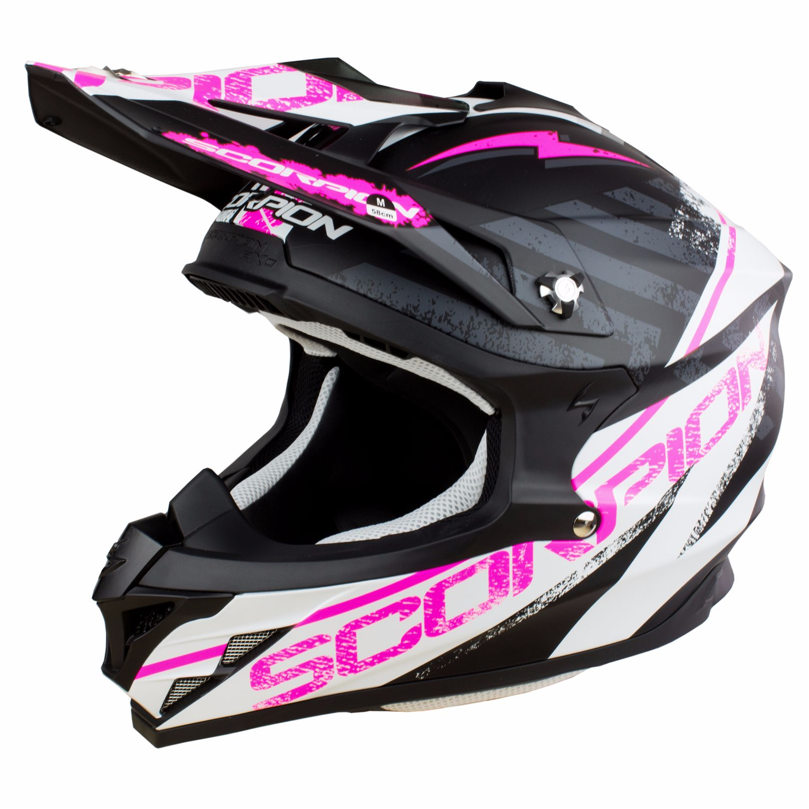 casco da cross scorpion exo vx 15 evo air gamma nero bianco rosa 2018 casco. Black Bedroom Furniture Sets. Home Design Ideas